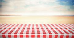 Composite image of red and white tablecloth - stock illustration