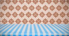 Composite image of part of blue and white tablecloth Stock Illustration