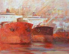Tanker ships, modern handmade paintings Stock Illustration