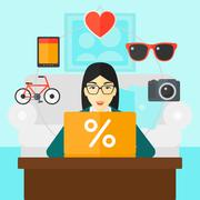 Woman shopping online using her laptop Stock Illustration
