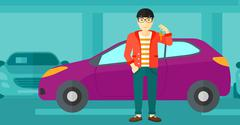 Man holding key from new car - stock illustration