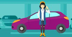 Woman holding keys from new car Stock Illustration