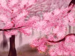 Blooming Sakura Trees - stock illustration