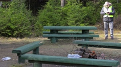 Park ranger using tablet PC Stock Footage