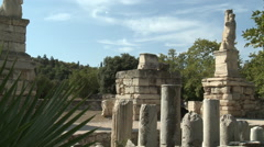 Athens - Pan Shot of Ancient Greek Ruins Stock Footage