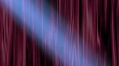 Shaft of soft blue light on theater curtains - stock footage