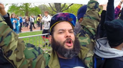 Slow motion footage of a pro-marijuana rally in Washington, D.C. - stock footage
