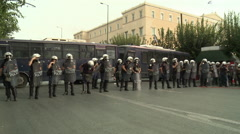 Athens - Greek Police in Demonstration Riot Gear - stock footage