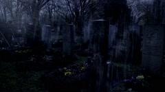 Dark graveyard in the rain Stock Footage
