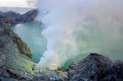 Ijen volcano in East Java in Indonesia. It's famous for sulfur mining and aci - stock photo