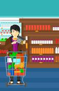 Man counting on calculator Stock Illustration