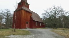Red Wooden Church At Skansen, Stockholm Stock Footage