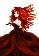 Fantasy girl in red dress - stock illustration