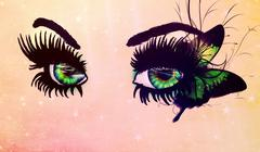 Fantasy green eyes - stock illustration