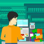 Stock Illustration of Cashier at supermarket checkout