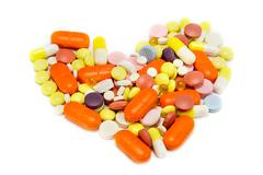 Heart of pills - stock photo