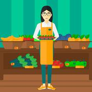 Stock Illustration of Supermarket worker with box full of apples