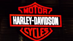 Harley Davidson logo sign, loop - stock footage
