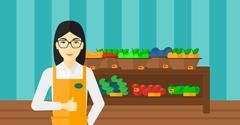 Friendly supermarket worker - stock illustration
