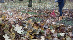 Colorful leaves pile and woman raking fall leaves with rake. 4K Stock Footage