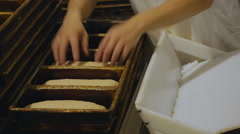 Bakery Worker Putting Bread Dough Into Pans At Commerical Bakery Stock Footage