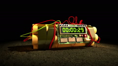 Bundle of dynamite with electronic timer - stock footage