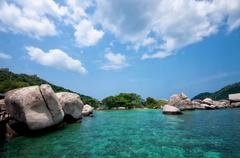 Idylic islands Ko Nang Yuan in Thailand - stock photo