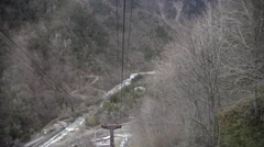 Cable car move down from Shin-hotaka peak in Nagano Japan Stock Footage
