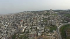 Jerusalem security wall drone flight view Stock Footage