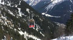 Ski Lift System giving access to the beautiful Chamonix mountains Stock Footage