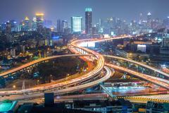 Highway in the city of Bangkok at Night - stock photo