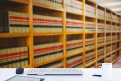 Composite image of desk - stock illustration