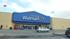 Smooth Steadicam Shot of Walmart Store Entrance Stock Footage