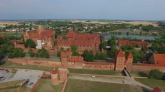Teutonic Order Castle In Malbork. Aerial View 04 Stock Footage