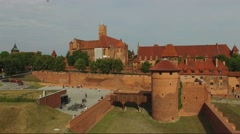 Teutonic Order Castle In Malbork. Aerial View 09 Stock Footage