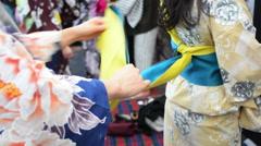 Japanese women dressing kimono - stock footage