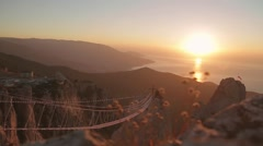 Mountain view from the top of Ai Petri mountain during sunrise Stock Footage