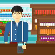 Stock Illustration of Man paying with smart watch