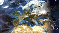 Planet Earth Map - Europe Evening Time-lapse (4k UHD) Stock Footage