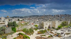 View to Damascus Gate and old Jerusalem City. Time lapse Stock Footage