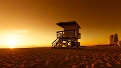 Lifeguard Hut in South Beach during sunrise, Miami Stock Footage