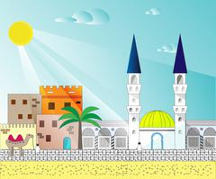 Islamic colorful cityscape with houses, mosque and minaret - stock illustration