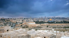 Dramatic clouds over Jerusalem old city, Israel. Time lapse Stock Footage