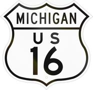 Historic Michigan Highway Route shield from 1948 used in the US Stock Illustration