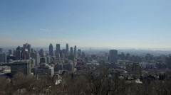 Montreal City Downtown Buildings Aerial View from Mont Royal Observatory Stock Footage