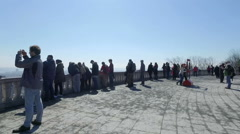 Friends & Families looking at Montreal City from Mont Royal Observatory Stock Footage