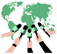 Vector live report concept, hands of journalists with microphones. live news Stock Illustration