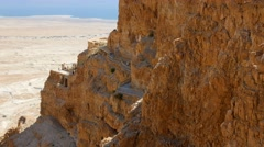 Panning shot of Massada fortress in Negev desert, Israel Stock Footage