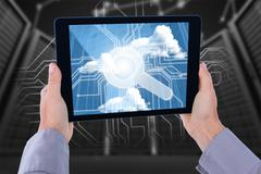 Composite image of cropped hand of man holding digital tablet - stock illustration