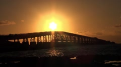 The historic Bahia Honda bridge Stock Footage